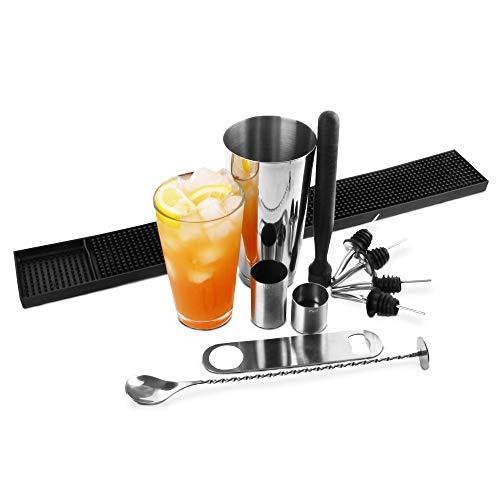 Grande Boston Shaker Set da bar@drinkstuff | Contiene professionale Boston Shaker latta e vetro, miscelazione Spoon, Muddler, Cocktail Strainer, Bar Lama, gomma Bar Mat, 25ml e 50ml Misure & 4 x versatori | Beginners Kit Cocktail