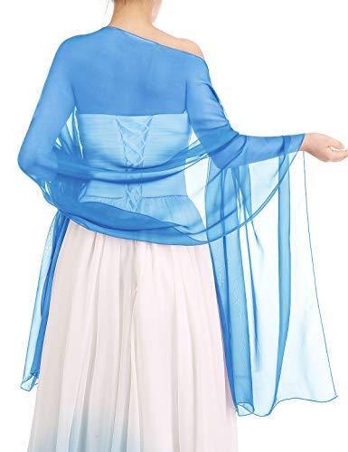 bbonlinedress Schal Chiffon Stola Scarves in verschiedenen Farben Light Blue 190cmX70cm Light Blue Schal