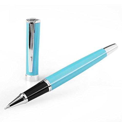 Preisvergleich Produktbild Tintenroller mit Silber Clip, antiker Stil, große und schwere Qualität, elegant, Himmelblau, ideales Geschenk