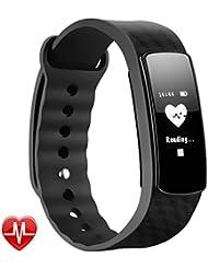 MPOW Herzfrequenz Fitnessarmband,Mpow Fitness Tracker mit Pulsmesser Bluetooth 4.0 Smart-Herzfrequenz Monitor Armband Schrittzähler Schlafanalyse Aktivitätstracker Kalorienzähler Schlaftracker für Android und iOS Smart Phones