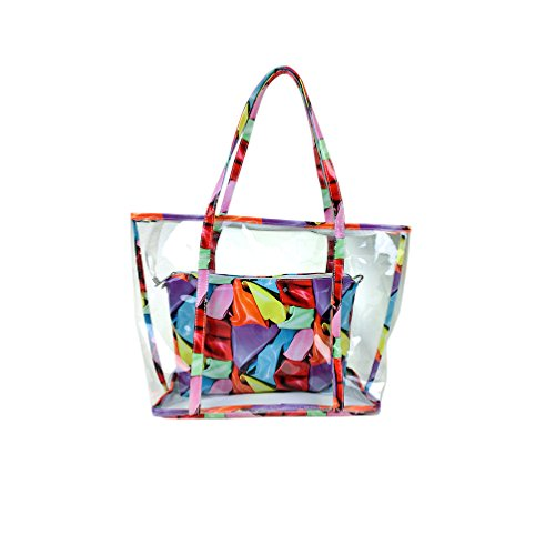 Strand Tasche Tote Handtasche (Semi-clear Jelly Transparent SwHalb klar Jelly Transparent Süße Holidays Außen PU-Leder Strand Shoulde / Tote / Schwimmen Tasche Handtasche Set (Bunte Schals))