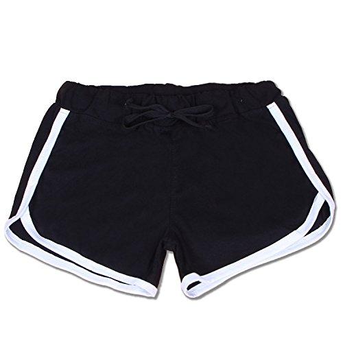 Westeng Short de Sport pur coton Casual Yoga Mode Plage avec Bords Blanc pour Femmes Blanc*L