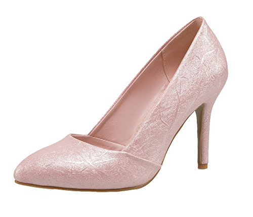 Voguezone009 Mujer Pure Shimmer Tacón Alto Punta Estrecha Tirar Zapatos De Ballet Rosa