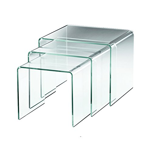 designement Table Basse Verre Transparent 55 x 45 x 42 cm