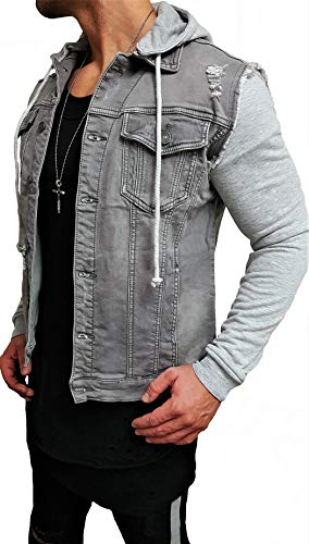 g star lederjacke Unbekannt Kapuzen Jeansjacke Denim Jeans Jacke Kapuzenjacke Hoodie Herren Grau Black Biker Motorrad Designer Blouson Sweat Men Leather Flieger Wende Piloten Jacket Black Slim fit New (S, Grau)