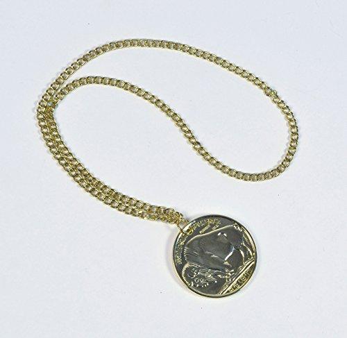 GCC Fashion Store ADULTs GOLD MEDALLION ON CHAIN HIPPY FANCY DRESS PARTY - Gold Medallion Halskette Kostüm