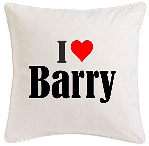Kissenbezug I Love Barry 40cmx40cm aus Mikrofaser ideales Geschenk und geschmackvolle Dekoration für jedes Wohnzimmer oder Schlafzimmer in Weiß mit Reißverschluss -
