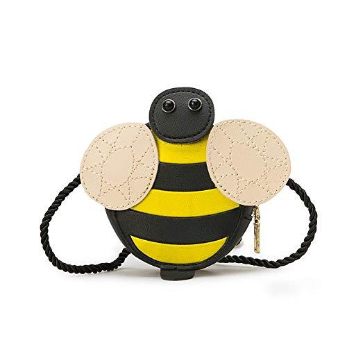 Depruies Cartoon niedliche Kindertasche Biene Tier Schultertasche PU Prinzessin Diagonal Kleine Rucksack weiche Oberfläche Mädchen Einzelschulter Kleine Quadratische Tasche Biene (Für Rucksack Niedlich Mädchen)