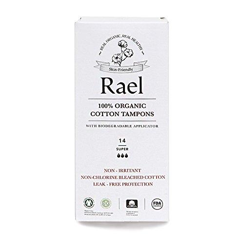 Rael 100% Bio-Zertifiziert, chlorfreier gebleicht Tampons mit biologisch abbaubar Karton Applikator, Super (14insgesamt) - Karton Applikator Tampons