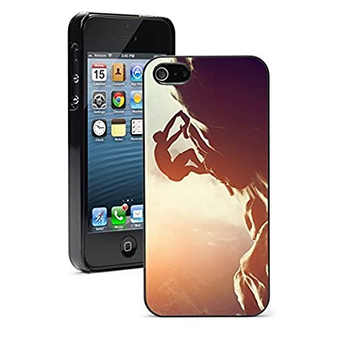 Apple iPhone 5 5S Hard Back Case Cover Color Rock Climber Climbing Sunset (Black)