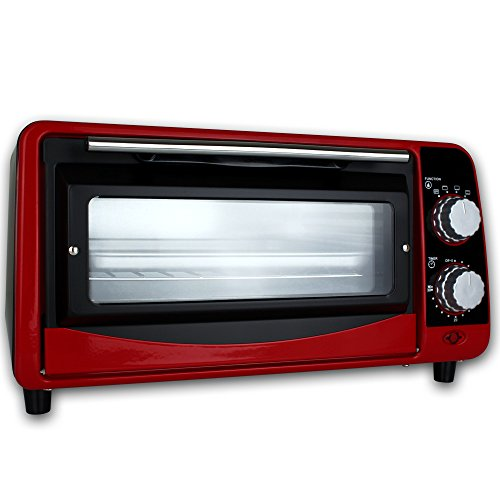 TW24 Backofen - Pizzaofen - Ofen - Backautomat 9 Liter - Mini Backofen 800W mit Farbauswahl (Rot)