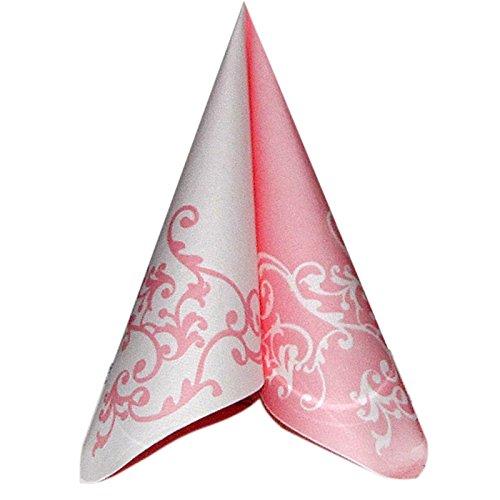 Unbekannt 50 Servietten, stoffähnlich, Airlaid 1/4-Falz 40cm x 40cm Ornaments Rosa Weiss