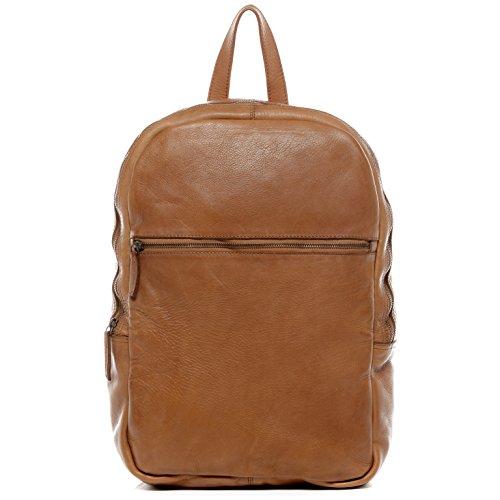 BACCINI Rucksack Leder Dario groß Backpack Tagesrucksack Kurierrucksack Unisex Lederrucksack Herausnehmbare Schutzhülle bis 15,4 Zoll Damen Herren braun