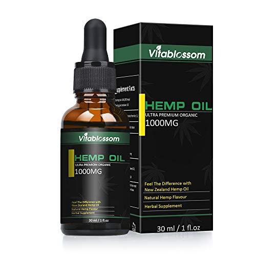 Hanföl-Tropfen, hochfester Hanf-Extrakt, Full Spectrum-Extrakt Hanfsamenöl, für Angst Schmerzlinderung Schlafunterstützung 2019 New Formula MEHRWEG