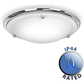 modern ip44 silver chrome u0026 glass flush bathroom ceiling light