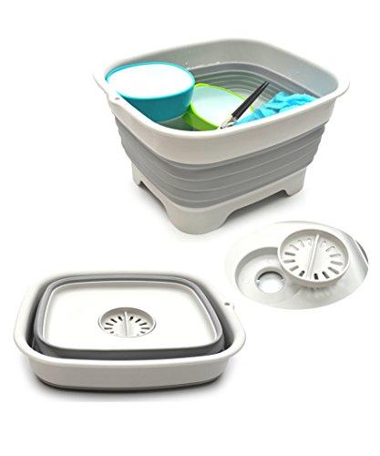 sammart 9.1l (2.4gallon) zusammenklappbar Dishpan mit Abtropf Plug–zusammenklappbar Waschbecken–Tragbar Gericht WASCHANLEITUNG Badewanne–Platzsparende Küche, (grau)