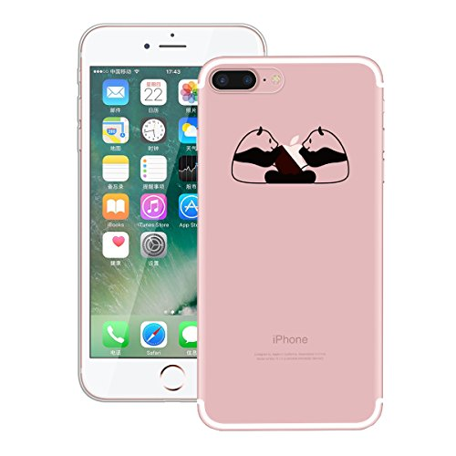 "Coque iPhone 7 Plus, Etui iPhone 7 Plus , Housse iPhone 7 Plus (5.5""), GrandEver Coque Silicone 3D Diamant Bling Sparkle Transparente Crystal Clair Back Case TPU Bumper Cover Plume Attrape Rêve Motif  Panda 06"