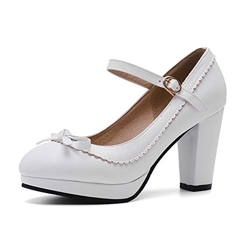 SaraIris Damen Chunky High Heel Sweet Bow Mary Jane Plateau-Pumps Schuhe, Weiá (2white), 37 EU -
