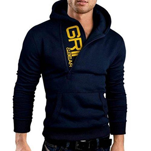 Hmeng Männer Jacke, 2017 Mode Herren Klassische Schlank Entworfene Revers Strickjacke Mantel Sweatshirt Jacke❤️Long Sleeve Hoodie mit Kapuze Jacke Outwear (Marine, XXXL)