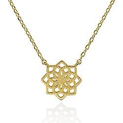 Namana Collar con Colgante Mandala. Collar con Geometría Sagrada de Acabado Cepillado. Sin Níquel y Sin Plomo. Joya con Mandala con Caja de Regalo. (Oro, Chapado en oro)