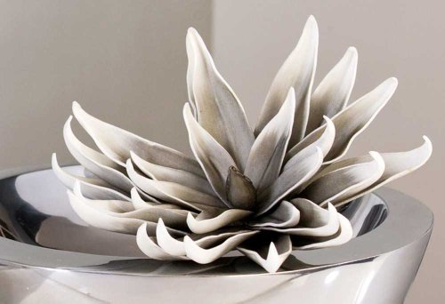 Mousse artificielle de fleurs ø 25 cm-couleur: blanc/gris