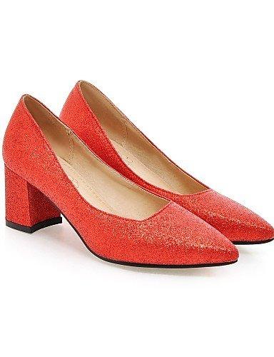 WSS 2016 Chaussures Femme-Mariage / Bureau & Travail / Habillé-Noir / Rouge / Argent / Or-Gros Talon-Confort / Bout Pointu-Talons-Similicuir red-us6 / eu36 / uk4 / cn36