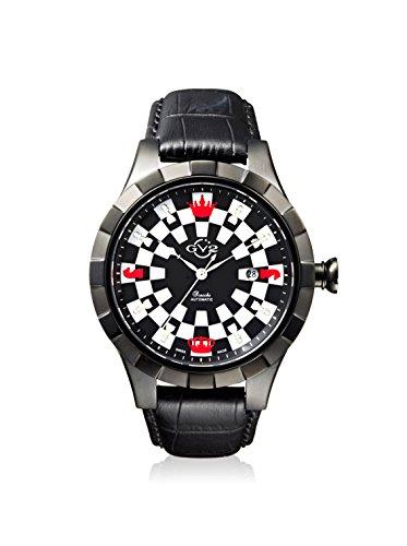 GV2by Gevril Scacchi Ajedrez Negro Correa de piel reloj automático suizo para hombre, (modelo: 9501)