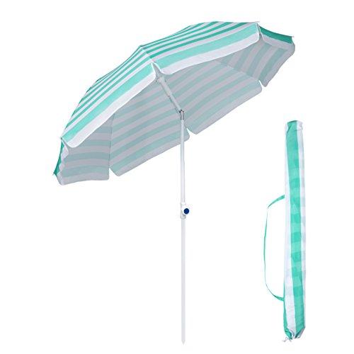Sekey Φ2m Sonnenschirm Marktschirm Gartenschirm Terrassenschirm Rund Sonnenschutz UV25+ ,mit Schutzhülle,Blau Streifen (Streifen Beige Natur)