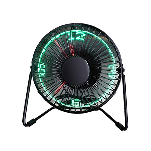 Mogicry Kreative kleine Tischventilator mit Worten/Uhr/Temperaturanzeige, Metallrahmen USB-Powered blinkende LED-Anzeige Elektrische kleine persönliche Lüfter, leiser Tischventilator
