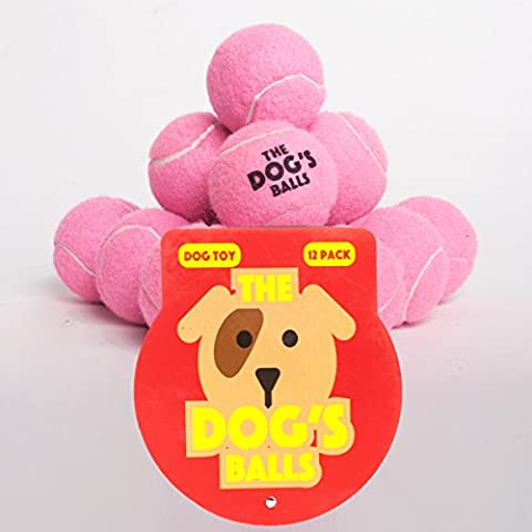 The Dog's Balls - 12 Dog Tennis Balls - Premium, Strong, Dog Ball Dog Toy for Dog Training, Dog Play, Dog Exercise and Dog Fetch. Tough Dog Balls for Chuckit Launchers. Bouncy Tennis Ball for Your Puppy too, No Dog Toy Squeaker, The King Kong of Dog Balls! Held in a Drawstring Carry Bag - Woof