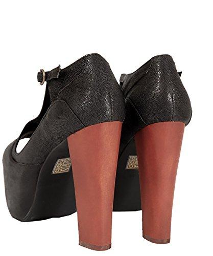 Jeffrey Campbell-Foxy Wood Black Chaussures Noires-Cuir-Talon en Bois Noir - Noir