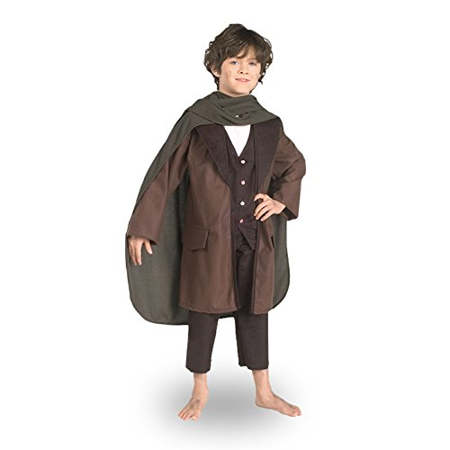 Elbenwald Frodo - Herr der Ringe Kostüm für Kinder - Halbling Hobbit Gewand komplett - (Frodo Umhang Kostüm)
