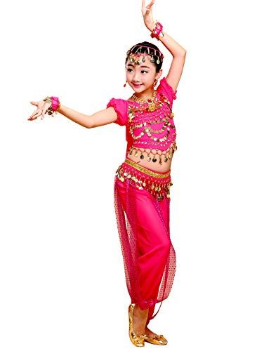 Grouptap Bollywood indische Kinder Mädchen Bharatanatyam Bauchtanz Zweiteilige Kinder Kostüm Kostüm Set (110-130cm, Rosa)