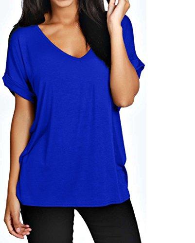 Femmes Grande Taille Compatible avec Col V Haut Femmes Baggy grande taille Manches chauve-souris Décontracté T Shirt tailles 8-24 Bleu Roi