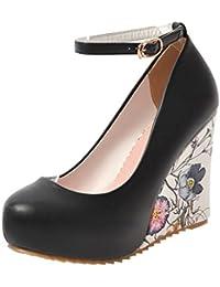 e457a9918054 YE Escarpins Femmes Bride Cheville avec Bout Rond à Talon Compensé avec  Plateforme Chaussures Chic