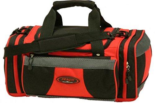 Elegante Sporttasche Reisetasche Freizeittasche Umhänge Tasche versch Farben (( 68 x 37 x 30 cm), SCHWARZ-ROT-33775-15) SCHWARZ-ROT-33775-15