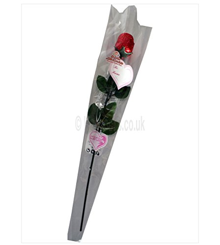 Preisvergleich Produktbild Rote Rose belgische Milchschokolade 18g - idealer Valentinsgruß / Liebe / Hochzeitsgeschenk