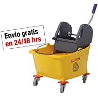 Cubo profesional amarillo Clim Profesional® de 32 litros con ruedas y prensa para fregonas industriales o de Kentucky