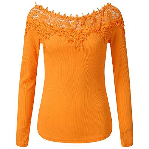 TAMALLU T-Shirts Frauen Modische Beautiful Leicht Wild Langarm Täglich Tunika(Gelb,M(L)) (Tragetaschen Winter-boots Für Frauen)
