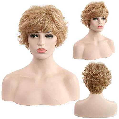 Golden Wig Frau Kurz Lockly Hair Synthetische Wig Glamour Girl Frisur Mode Für Halloween und Verschiedene Partys