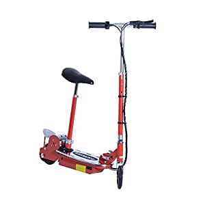 Aosom 120W Teen Folding Electric Scooter with Seat - Red