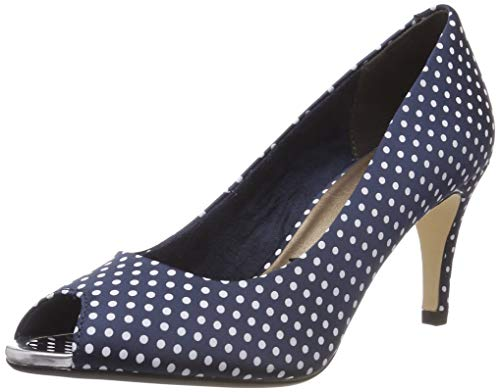Tamaris Damen 1-1-29302-22 Peeptoe Pumps, Blau (Navy DOTS 888), 41 EU