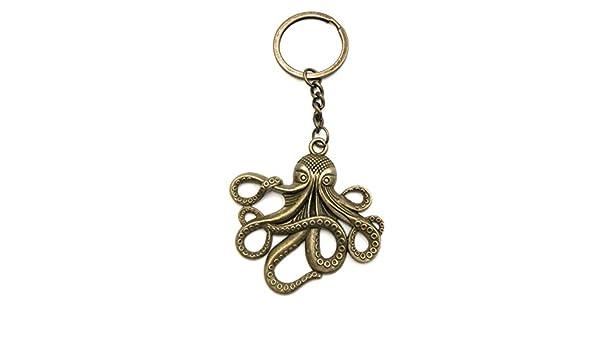 Polpo Octopus Grande Ciondolo Portachiavi Ciondolo in Bronzo in Metallo