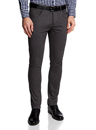 oodji Ultra Uomo Pantaloni 5 Tasche in Cotone, Grigio, IT 44 / EU 40 / M
