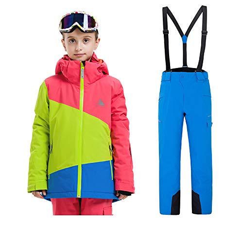 Sunbaby Skianzug Kinder Jacken und Hosen Winter Ski Set Winddicht wasserdicht Skianzüge (Mädchen Rose+Blau, 120/6 Jahre) (Mädchen Ski Hose 6)