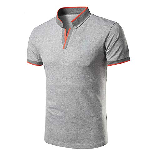 UJUNAOR Herren Poloshirt mit Stehkragen Casual Sommer T-Shirt Regular Polo Tops Polohemden Basic(Grau,Small) -