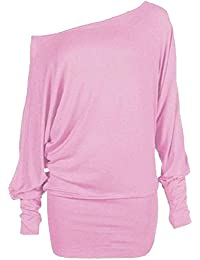 New Womens Batwing Sleeve Off Shoulder Plus size Tops