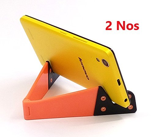 Adoniz Pair of Universal Foldable V Shape Tablet PC Desk Mobile Cell Phone Mount Stand Holder Bracket For smart phone (Random Color)