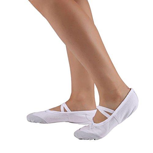 Leezo Zapatos de Baile de Yoga Portátiles para Niñas de Lona de Cuero Pumps Flats Classic Ballet Zapatos, Blanco, 36 EU = 22 cm = 8.66 Inch