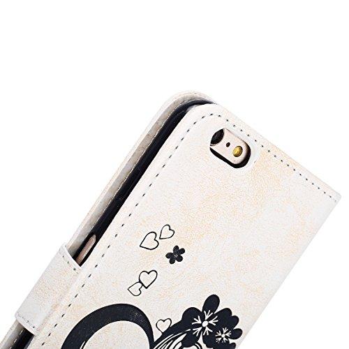 Hülle für iPhone 6S Plus, Tasche für iPhone 6 Plus, Case Cover für iPhone 6 Plus, ISAKEN Blume Schmetterling Muster Folio PU Leder Flip Cover Brieftasche Geldbörse Wallet Case Ledertasche Handyhülle T Herz Blumen Weiß